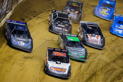 David Breazeale (54), Scott Bloomquist (0), Casey Montague (01), Daryn Klein (10K), Jonathan Davenport (49), Kolby Vandenbergh (15) and Jason Suhre (4)