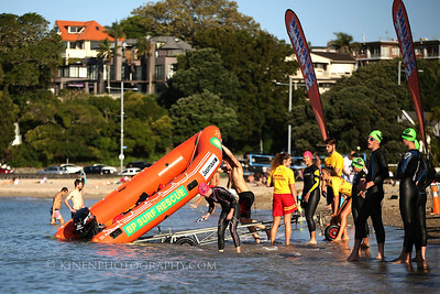 The Muriwai Surf Lifesaving IRB is launched ahead of the 2017 New Zealand Swimrun Championships. Mission Bay, Auckland, New Zealand. Wednesday 22nd February 2017.