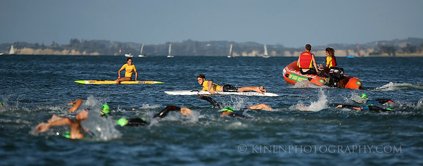 Surf lifesaving patrol overlook the men's swim leg. 2017 New Zealand Swimrun Championships. Mission Bay, Auckland, New Zealand. Wednesday 22nd February 2017.