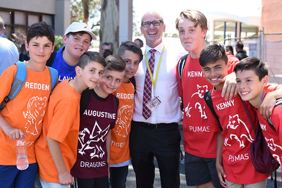 College Principal Mr Mark Murphy with 2018 Year 7 students at their transition day