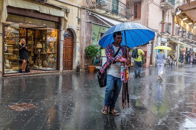 Umbrella seller...