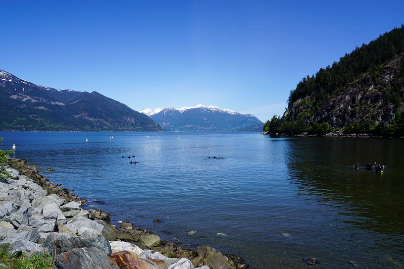Porteau Cove north of the city. A popular scuba diving spot as there is a sunken ship here
