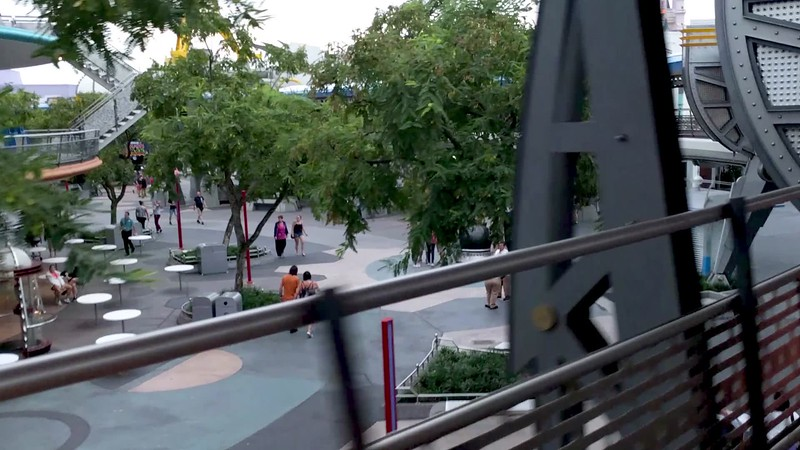 Peoplemover view of an empty park