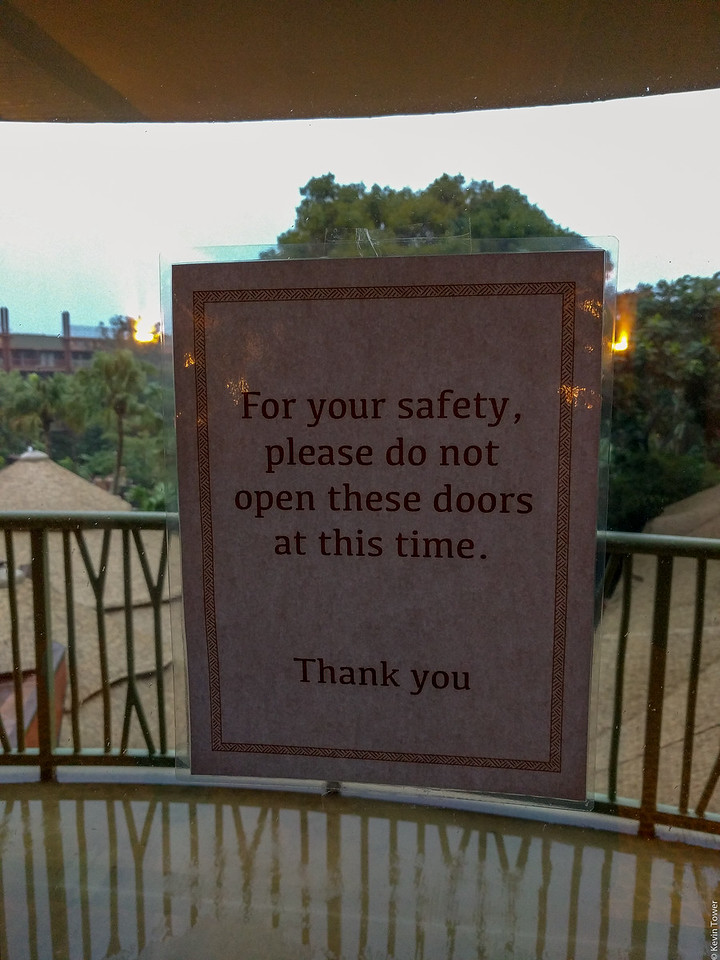 For your safety, please do not open these doors