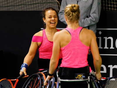 01.03c Marjolein Buis and Diede de Groot happy - Wheelchair Doubles Masters 2017