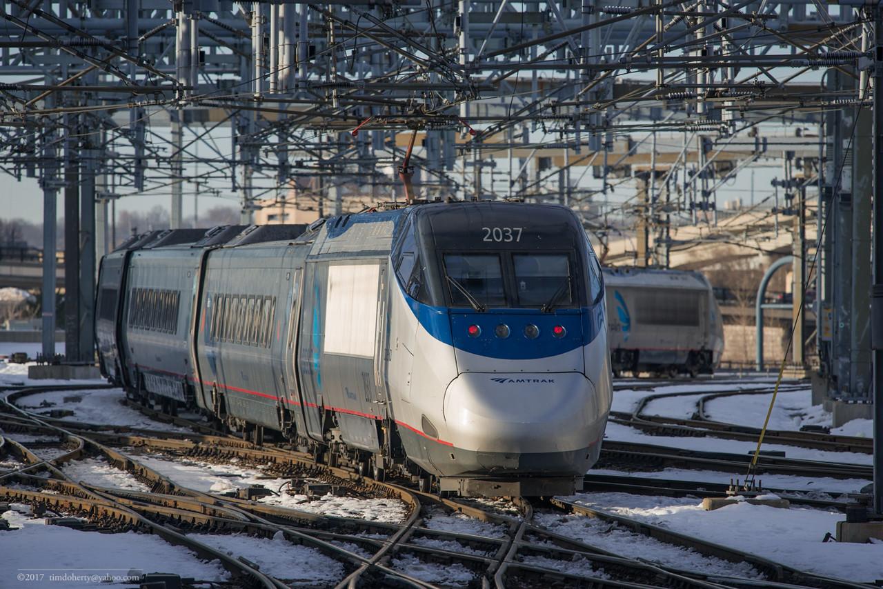 Amtrak Acela 2295 departs South Station in Boston.