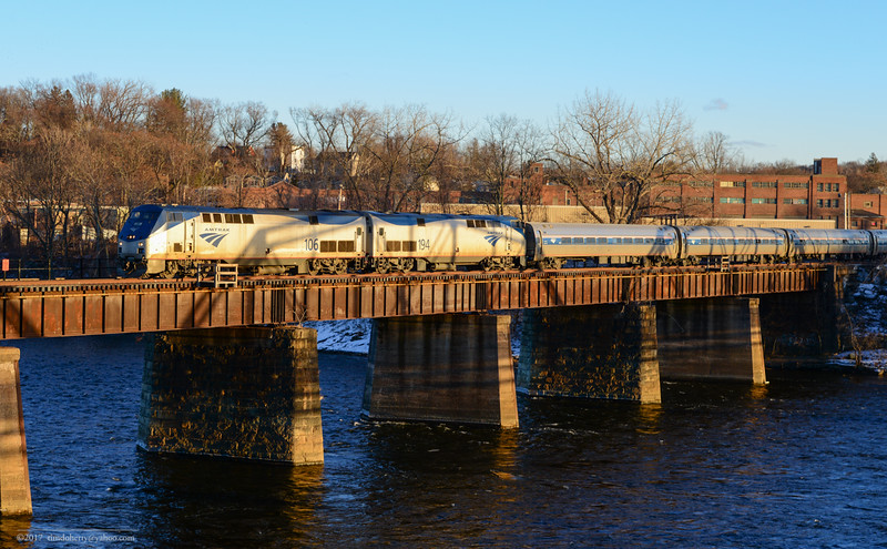 The northbound Vermonter crossing the Connecticut River at Holyoke on New Year's Day 2017.