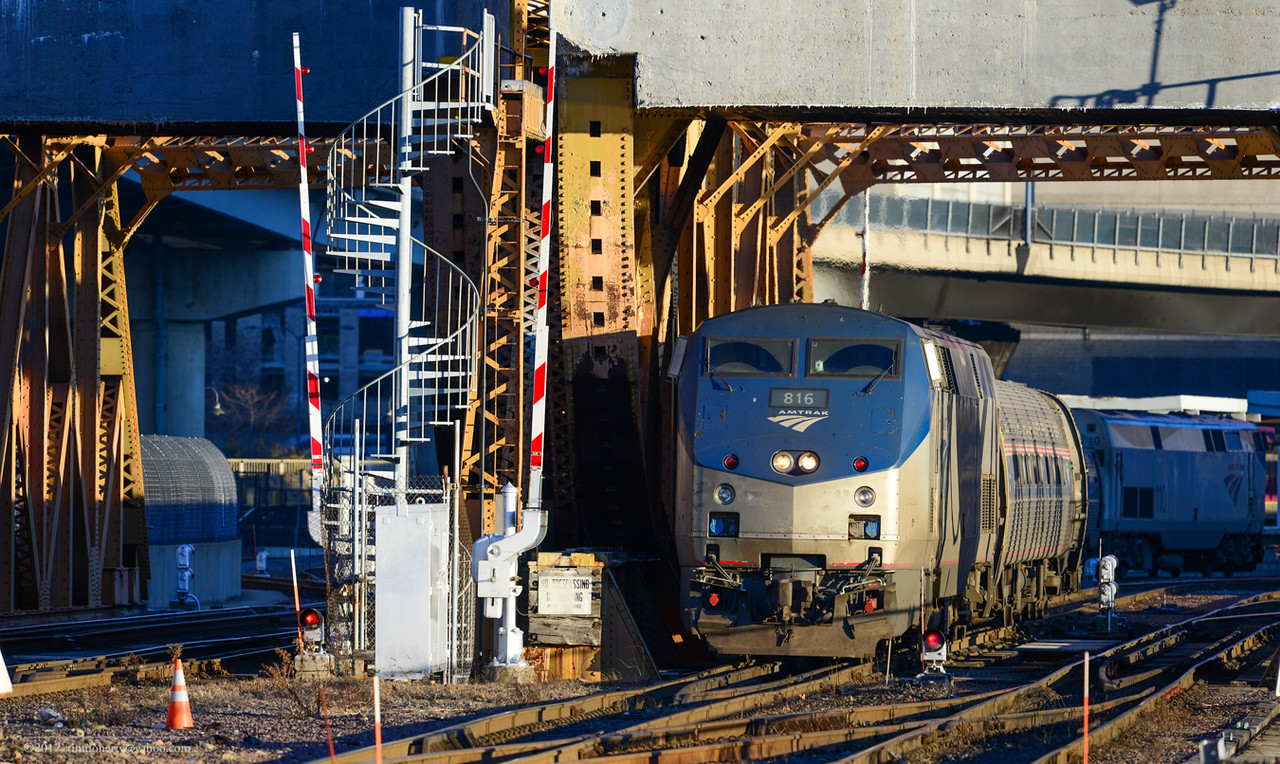 Amtrak Downeaster 695 leaving Boston for Brunswick, Maine on Sunday afternoon, February 26, 2017.