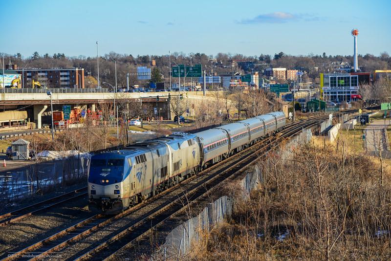 Amtrak train 57, the Vermonter, heading into Springfield on January 1, 2017.
