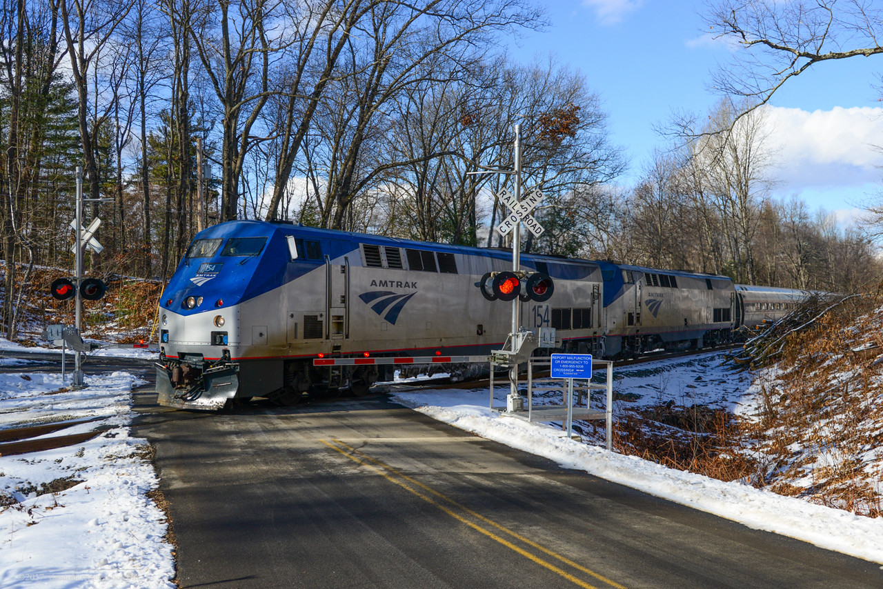 The southbound Vermonter at Pleasant Ave in Deerfield, MA.