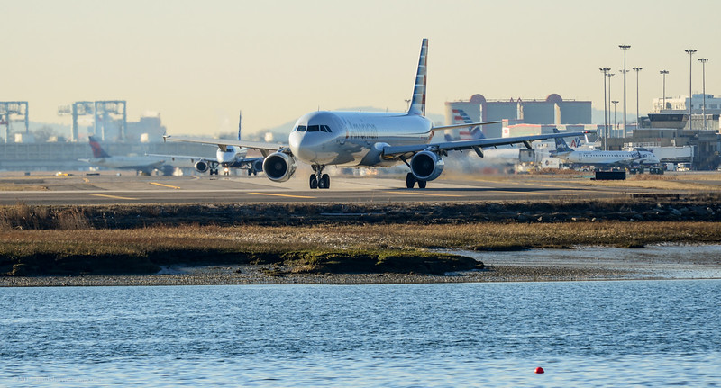 An American A321 at Logan Airport.