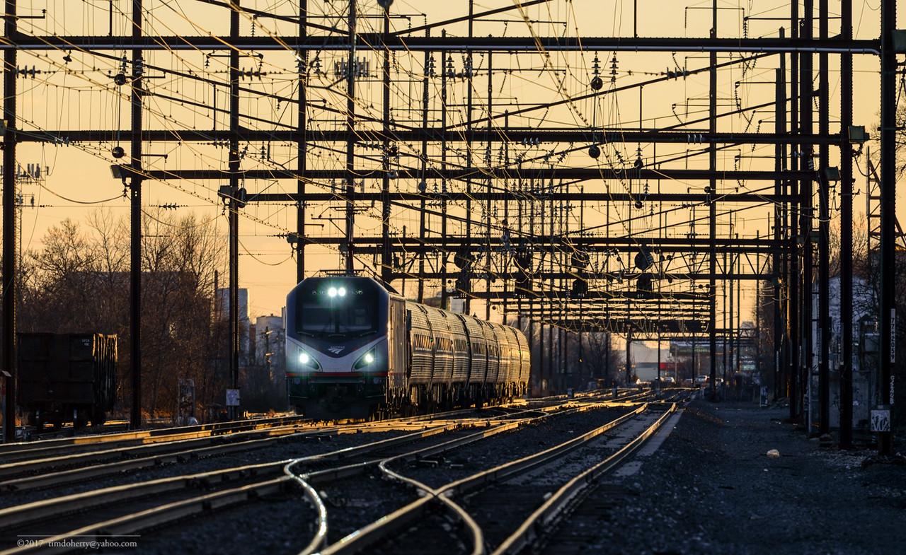 Amtrak train 168 at Homesburg Juction in Philadelphia.
