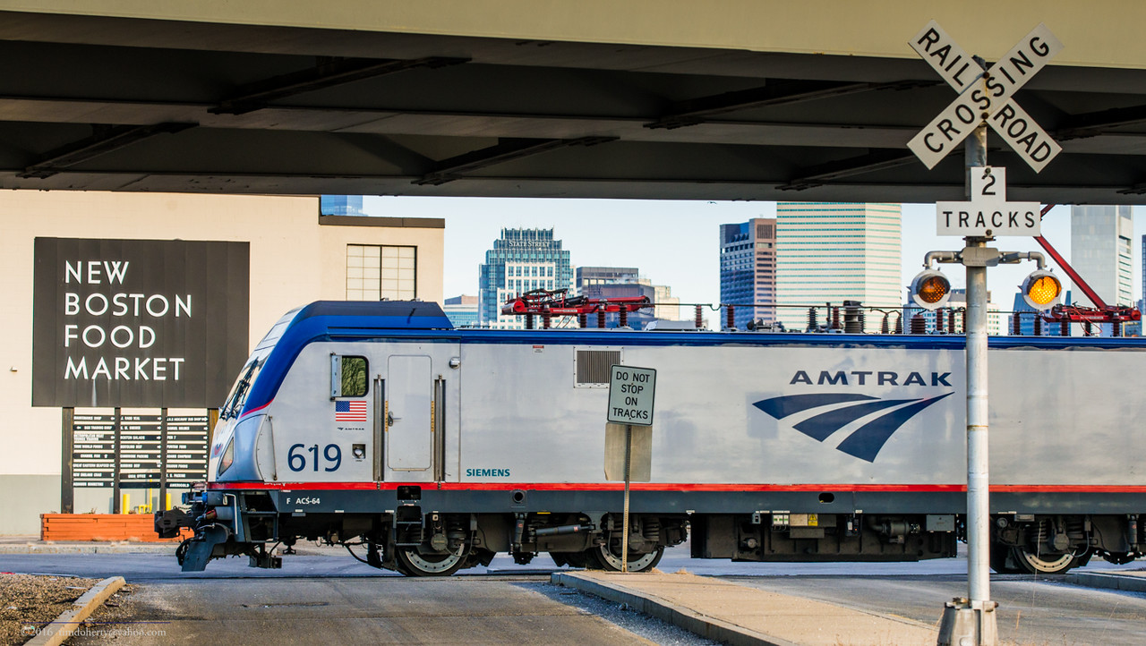 Amtrak train 66 turns on the loop at Widett Circle in South Boston after arriving on the morning of December 31, 2016.