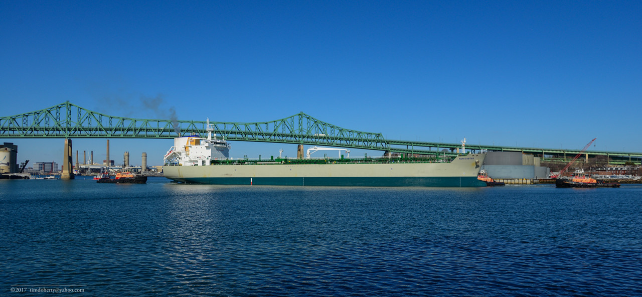 After backing out of Chelsea Creek the tanker Nor'easter is about turn below the Tobin Bridge.