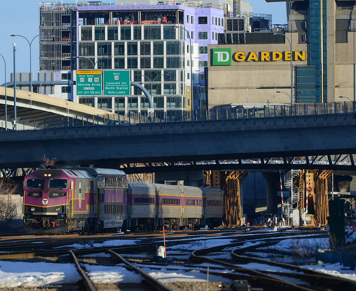 MBTA 2004 takes Rockport bound train 2109 out from Boston.