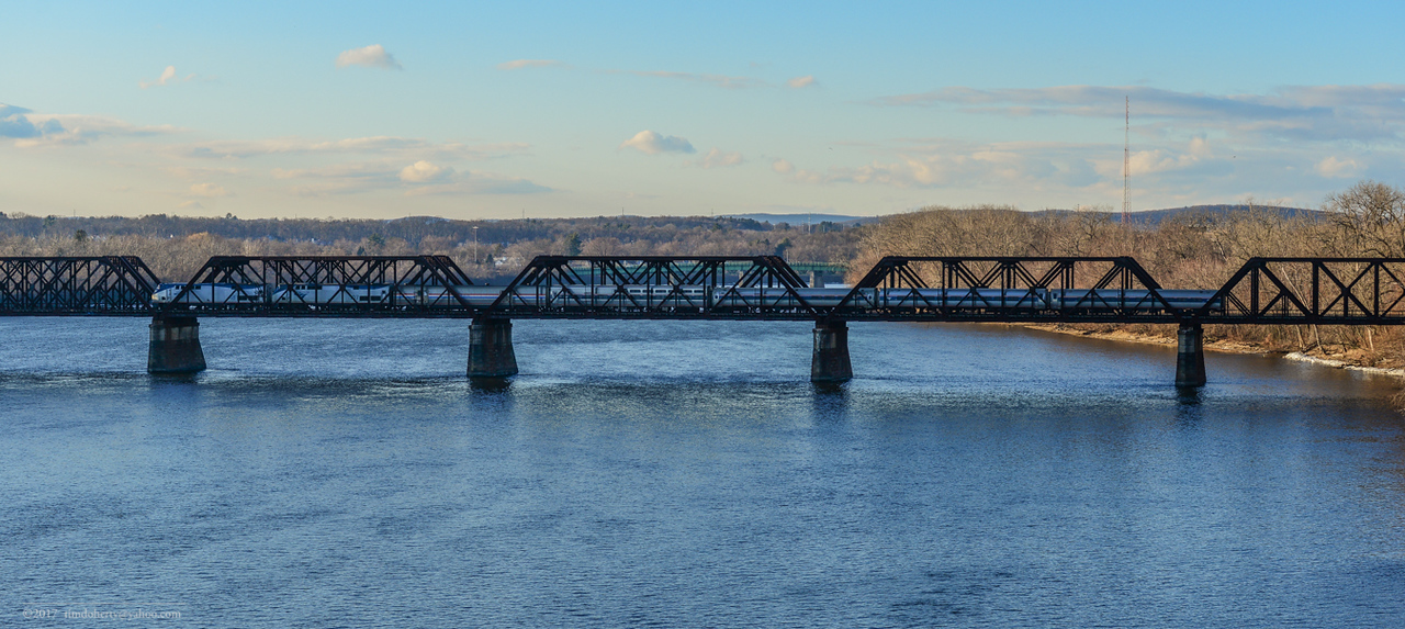 The Lake Shore Limited crossing the Connecticut River on the former Boston & Albany at Springfield. New Year's Day 2017.