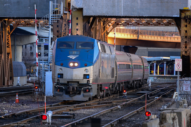 Amtrak 77 takes the Downeaster out of North Station on February 4, 2017.