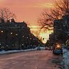 Sunset down Beacon Street in Boston.