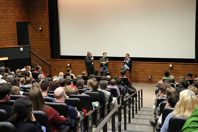 Director of Programming Jim Healy and Guests of the Fest Nick Offerman and Bob Byington