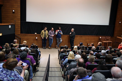 Guests of the Fest Nick Offerman, Marc Basch and Brett Haley with Director of Programming Jim Healy