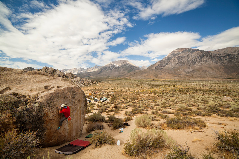 Tony works the moves on a V0 at the Buttermilks.