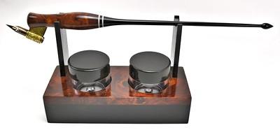 Rosewood Burl, Ebony & Mastodon Ivory Desk Set