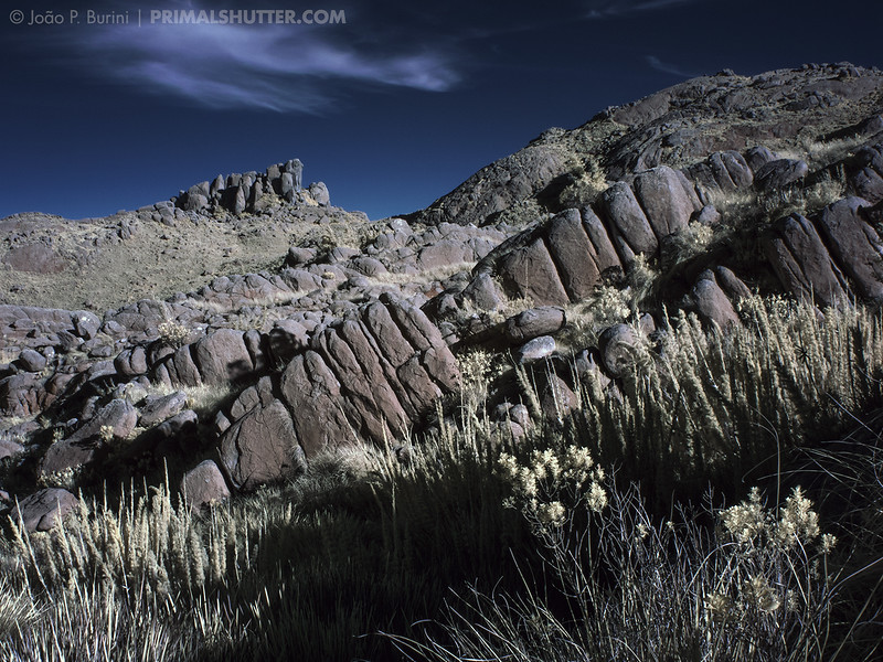 Rocky outcrops landscape in near infrared