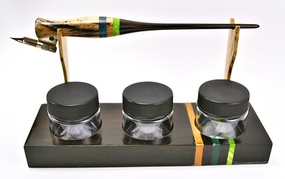 Black & White Ebony, Kamagong & Box Elder Burl Desk Set