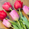 Pink & Red Tulips on Oak Table