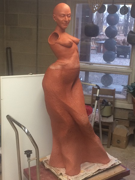 Shoulders/arms will be made by collaborating puppeteers, marionette style.… If it survives the kiln firing….