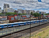 Argentina - Buenos Aires : Estacion de retiro tomada desde arriba con los edificios de la ciudad por detras / Argentinien : Bahnhof Retiro in Buenos Aires - Bahn - Vorortszüge © Walter Marthi/ LATINPHOTO.org