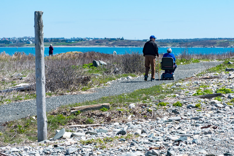Lovers out for a stroll at Cape Forchu, NS