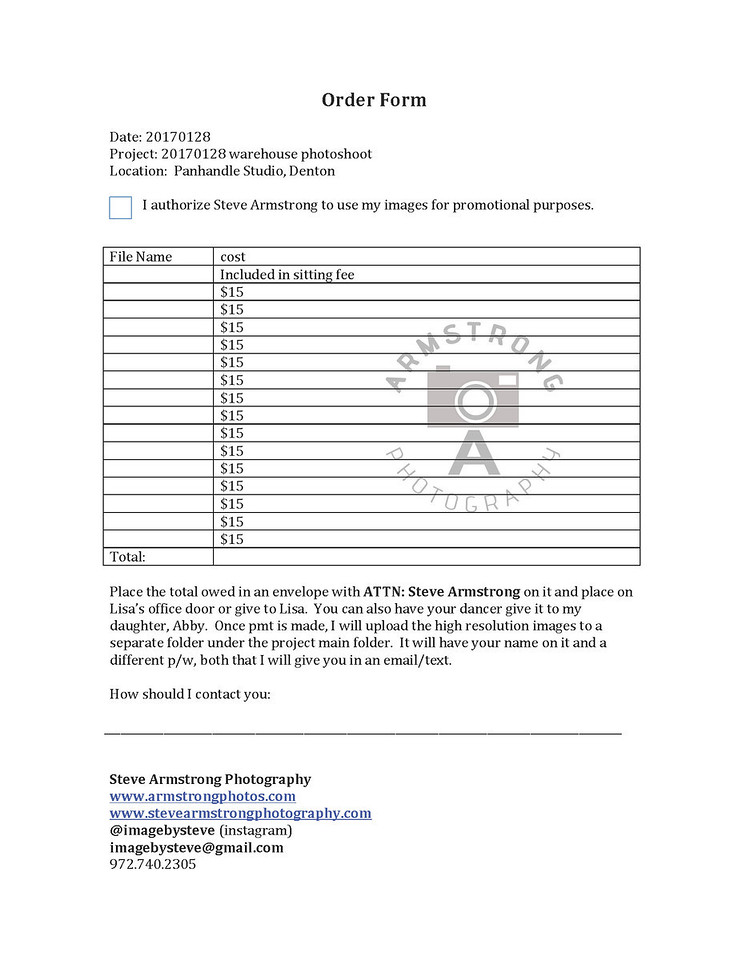 Armstrong Photography Order Form