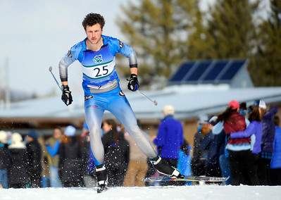 Jeb Wallace-Brodeur / Staff Photo U-32's Henry Hoffert speeds to a third-place finish in the Div. II Nordic Skate State Championship Monday at the Craftsbury Outdoor Center.