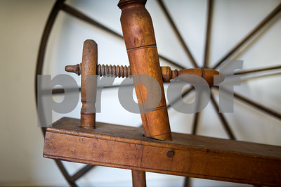Robert Layman / Staff Photo Seen here is a tensioning piece on a large spinning wheel. Middletown Springs resident Nora Rubinstein has been tracking large spinning wheels she beleives to be crafted by Samuel Morison, a local wheel crafter who has ties to Danby and South Wallingford from the 1800s. Rubinstein cited this type of string tensioning device to Morison's wheel making style.
