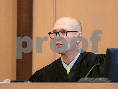 Robert Layman / Staff Photo Judge Thomas Zonay issues conditions of bail to Joshua Lewis during his arraignment Wednesday, October 25, 2017.