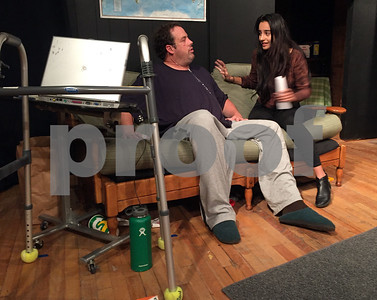 Robert Layman / Staff Photo  Charlie, left, played by Matthew Riley, has a conversation with his estranged daughter Ellie, right, played by Maya G. Redington.