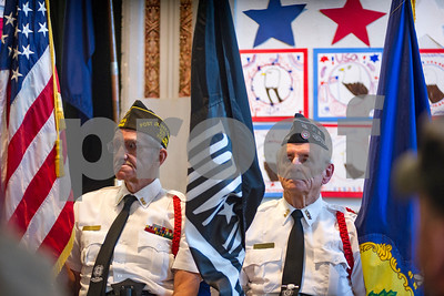 Robert Layman / Staff Photo Members of the Rutland VFW Post 648 sit at ease during the Rutalnd Intermediate School's Veterans Day Ceremony Thursday, Nov. 9, 2017.