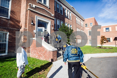 Robert Layman / Staff Photo Members of Rutland's American Legion Post #31 and VFW Post 658 Color Guard enters the Rutland Intermediate School Thursday, Nov. 9, 2017. The guards marched for the school's Veterans Day ceremony.
