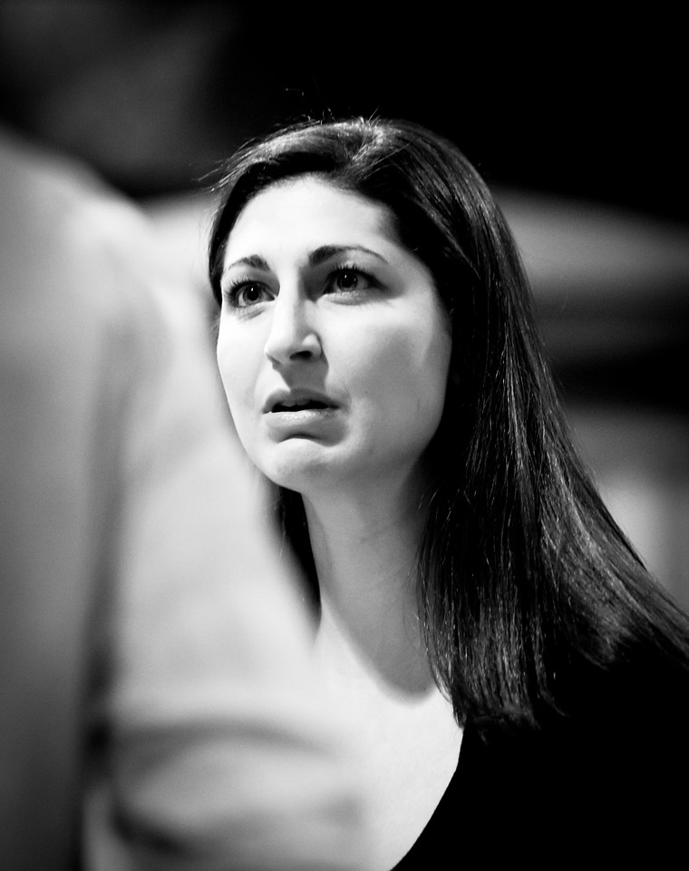 Ally Farzetta (Lady Macbeth) in rehearsal for MACBETH. Photo by Jay McClure.