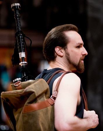 J.C. Long (Macduff) in rehearsal for MACBETH. Photo by Jay McClure.