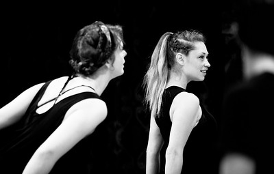 Annabelle Rollison and Hilary Caldwell (Weïrd Sisters) in rehearsal for MACBETH. Photo by Jay McClure.