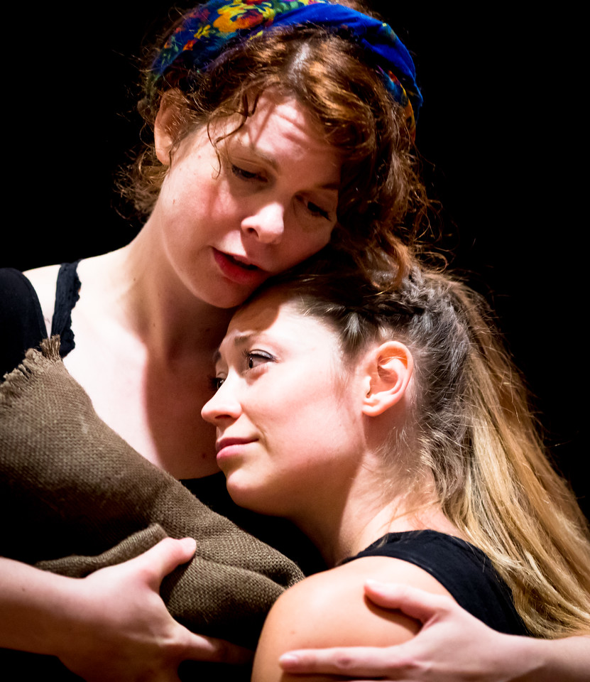 Annabelle Rollison (Lady Macduff) and Hilary Caldwell (Young Macduff) in rehearsal for MACBETH. Photo by Jay McClure.
