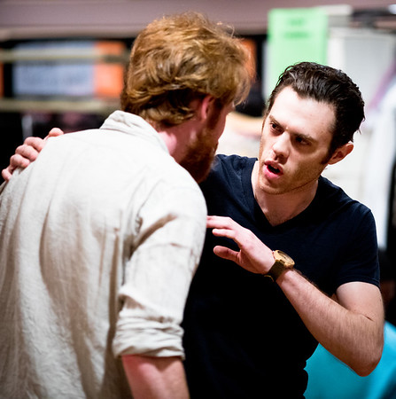 Josh Clark (Banquo) and Calder Shilling (Macbeth) in rehearsal for MACBETH. Photo by Jay McClure.
