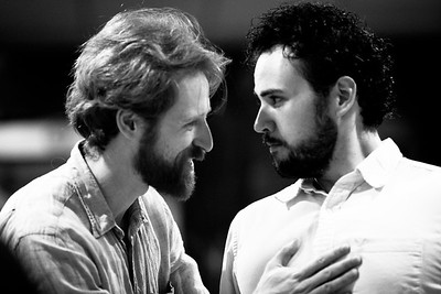 Calder Shilling (Macbeth) and Ronald Román-Meléndez (Seyton) in rehearsal for MACBETH. Photo by Jay McClure.