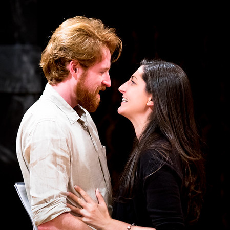 Calder Shilling (Macbeth) and Ally Farzetta (Lady Macbeth) in rehearsal for MACBETH. Photo by Jay McClure.