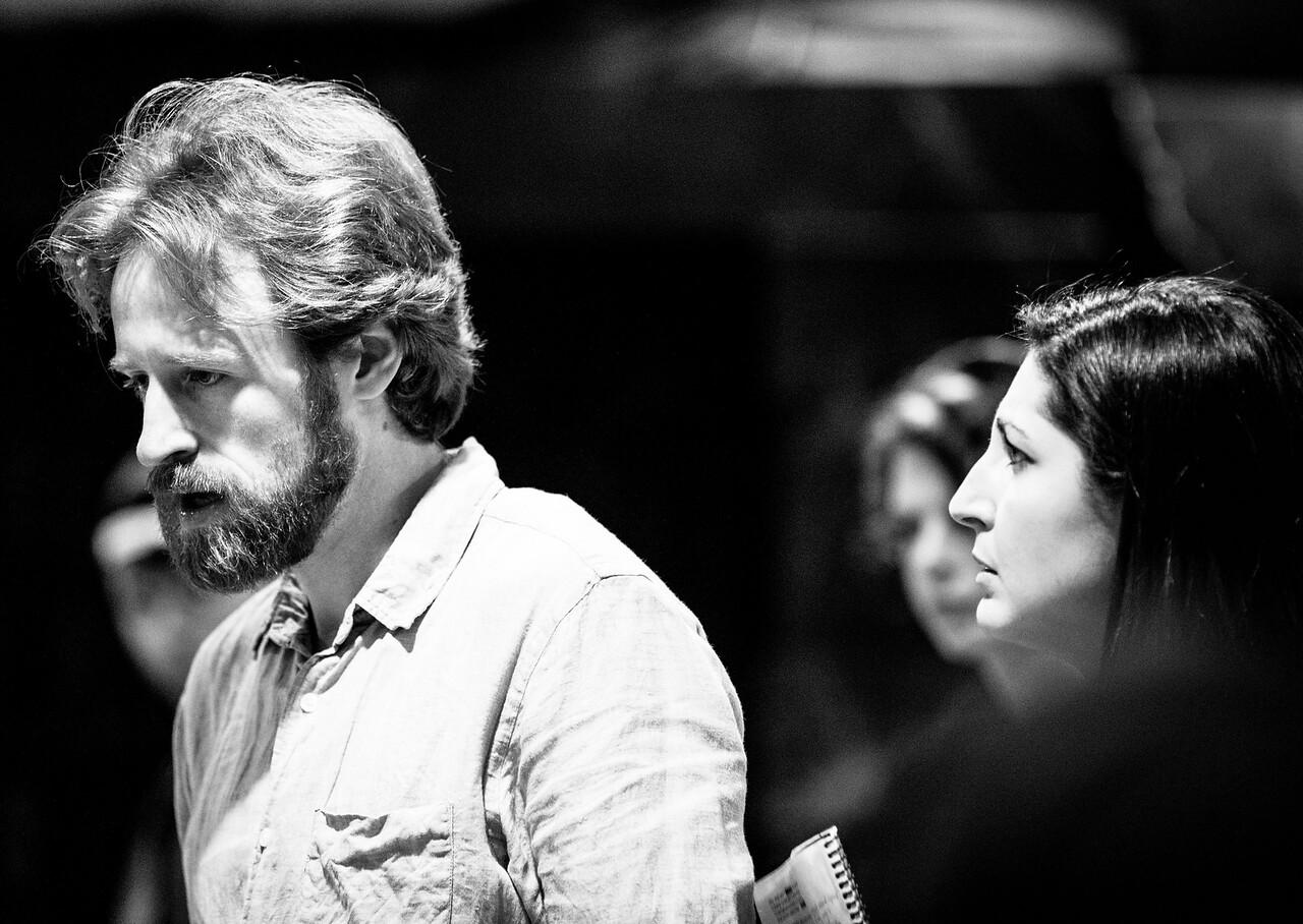 Calder Shilling (Macbeth), Ally Farzetta (Lady Macbeth), and Annabelle Rollison (Angus) in rehearsal for MACBETH. Photo by Jay McClure.