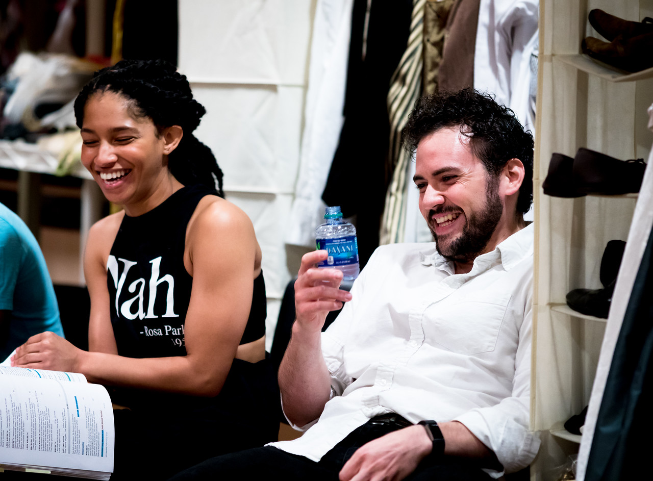 Constance Swain (Malcolm) and Ronald Román-Meléndez (Porter) in rehearsal for MACBETH. Photo by Jay McClure.
