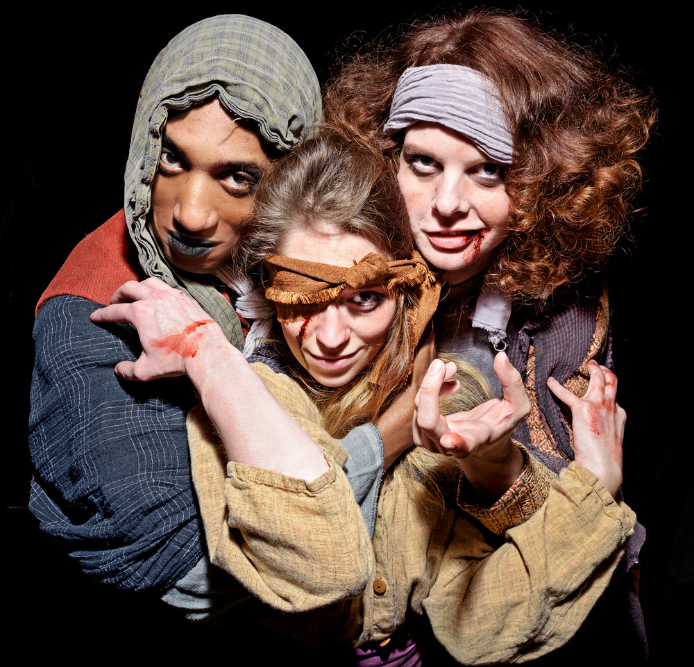 Kyle Powell, Hilary Caldwell, and Annabelle Rollison as the Weïrd Sisters in MACBETH. Photo by Michael Bailey.