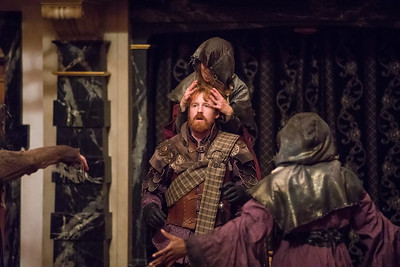 Hilary Caldwell, Calder Shilling, and Kyle Powell in MACBETH.  Photo by Tommy Thompson.